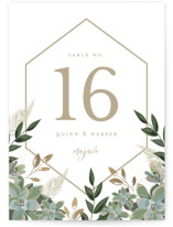 This is a white table number by Susan Moyal called Succulent Surround with foil-pressed printing on doublethick in standard.