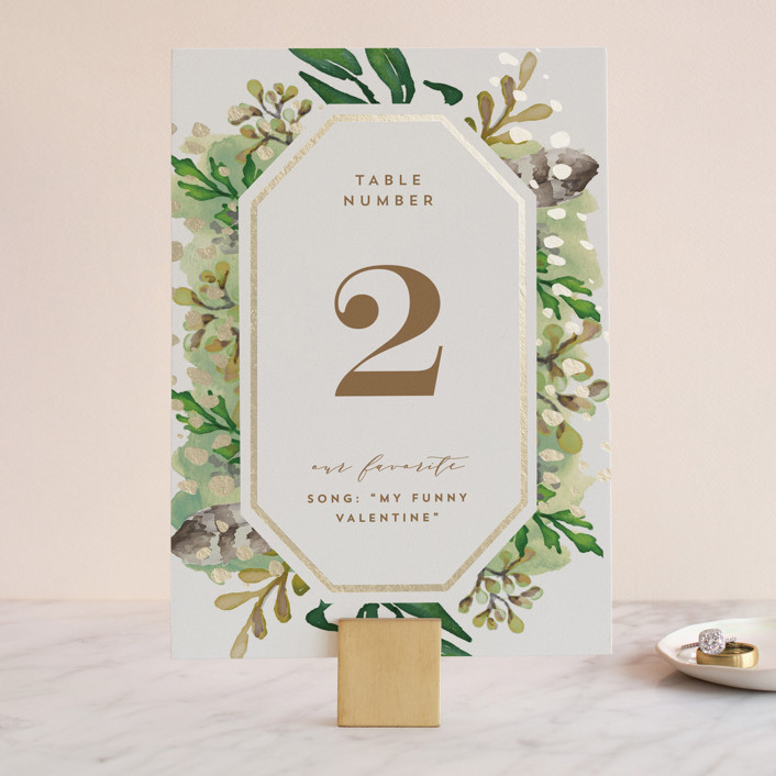 """""""Bohemian Beauty"""" - Foil-pressed Wedding Table Numbers in Garden by AK Graphics."""
