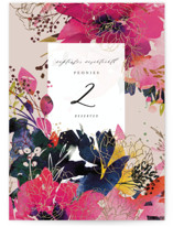 This is a beige table number by Lori Wemple called Blooming Beauty with foil-pressed printing on doublethick in standard.