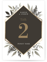 This is a black table number by Robin Ott called Shade Garden with foil-pressed printing on doublethick in standard.