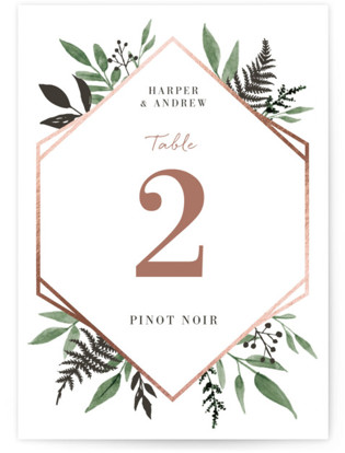 Shade Garden Foil-Pressed Table Numbers