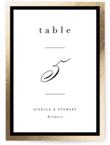 This is a black table number by Hooray Creative called Handsome Border with foil-pressed printing on doublethick in standard.