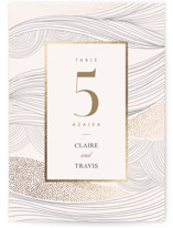 This is a white table number by Monika Drachal called Flowing Stripes with foil-pressed printing on doublethick in standard.