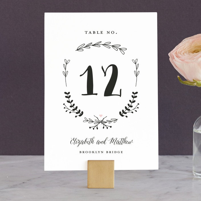 """Always"" - Wedding Table Numbers in Blush by Susan Brown."