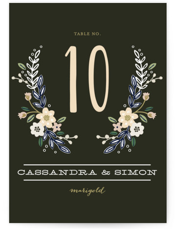 This is a portrait floral, rustic, black Table Numbers by Alethea and Ruth called Wildflower Crest with Standard printing on Signature in Classic fold over (blank inside) format. Table numbers come in a flat or folded format. Select from our ...