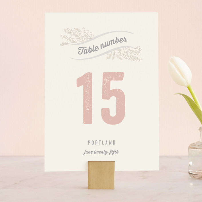 """Rustic Charm"" - Bold typographic, Rustic Wedding Table Numbers in Petal by Hooray Creative."
