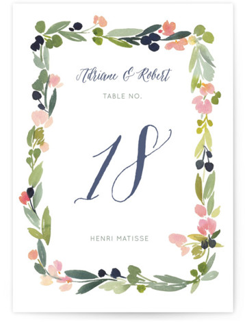 This is a portrait floral, watercolor, pink Table Numbers by Yao Cheng Design called Watercolor Wreath with Standard printing on Luxe Museum Board in Classic Flat Card format. Table numbers come in a flat or folded format. Select from our ...
