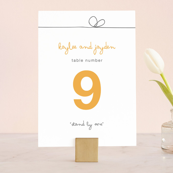 """""""The Happy Couple"""" - Modern, Simple Wedding Table Numbers in Tangerine by R studio."""