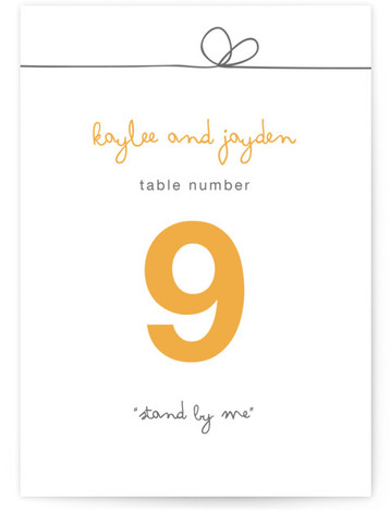 This is a portrait bold typographic, modern, simple, yellow Table Numbers by R studio called The Happy Couple with Standard printing on Luxe Museum Board in Classic Flat Card format. Table numbers enhance the look of your tablescape and put ...