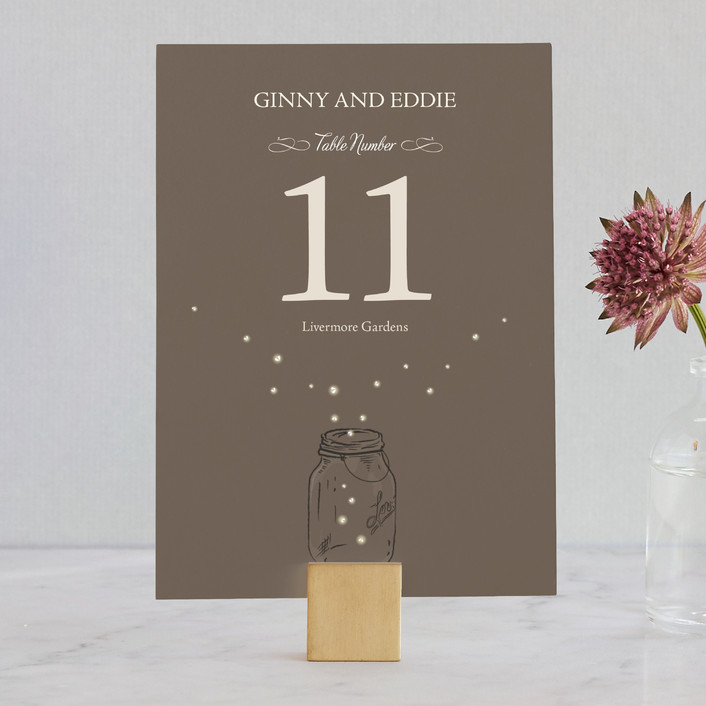 """Fireflies"" - Rustic, Hand Drawn Wedding Table Numbers in Zuni Brown by Paige Rothhaar."