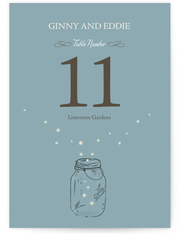 This is a portrait hand drawn, rustic, blue Table Numbers by cadence paige design called Fireflies with Standard printing on Luxe Museum Board in Classic Flat Card format. Table numbers come in a flat or folded format. Select from our ...