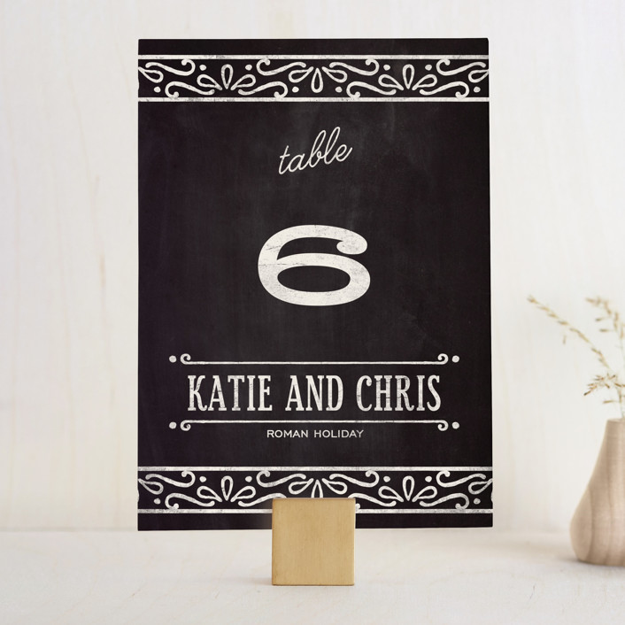 """""""Slated Forever"""" - Bold typographic, Vintage Wedding Table Numbers in Chalkboard by GeekInk Design."""