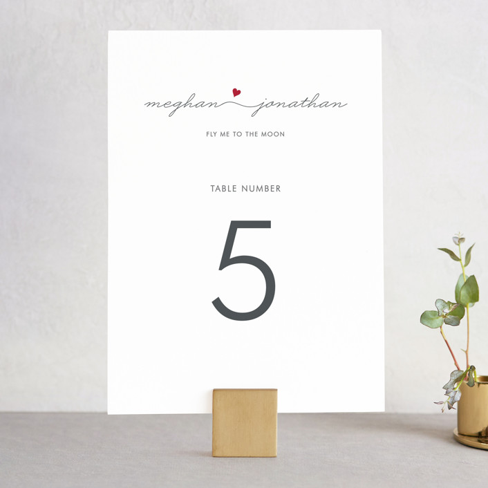 """""""Love Connection"""" - Modern, Simple Wedding Table Numbers in Red Hot by Kim Dietrich Elam."""