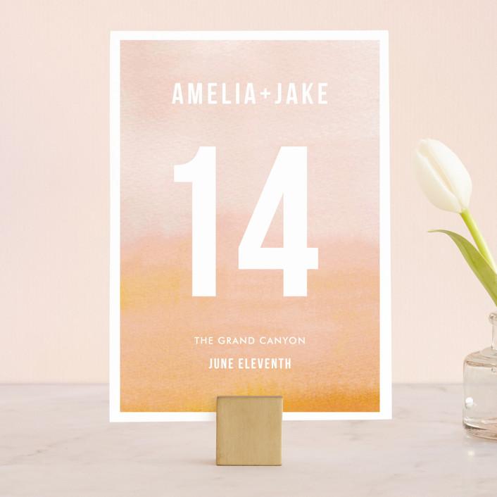 """Ombre"" - Modern, Simple Wedding Table Numbers in Mandarin by Dean Street."
