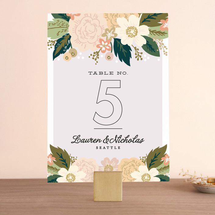 """Classic Floral"" - Floral & Botanical Wedding Table Numbers in Spring Blush by Alethea and Ruth."