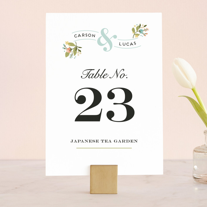 """Floral Ampersand"" - Floral & Botanical, Vintage Wedding Table Numbers in Sea Breeze by Jennifer Wick."