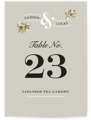 This is a portrait floral, vintage, grey Table Numbers by Jennifer Wick called Floral Ampersand with Standard printing on Luxe Museum Board in Classic Flat Card format. Table numbers come in a flat or folded format. Select from our Signature, ...