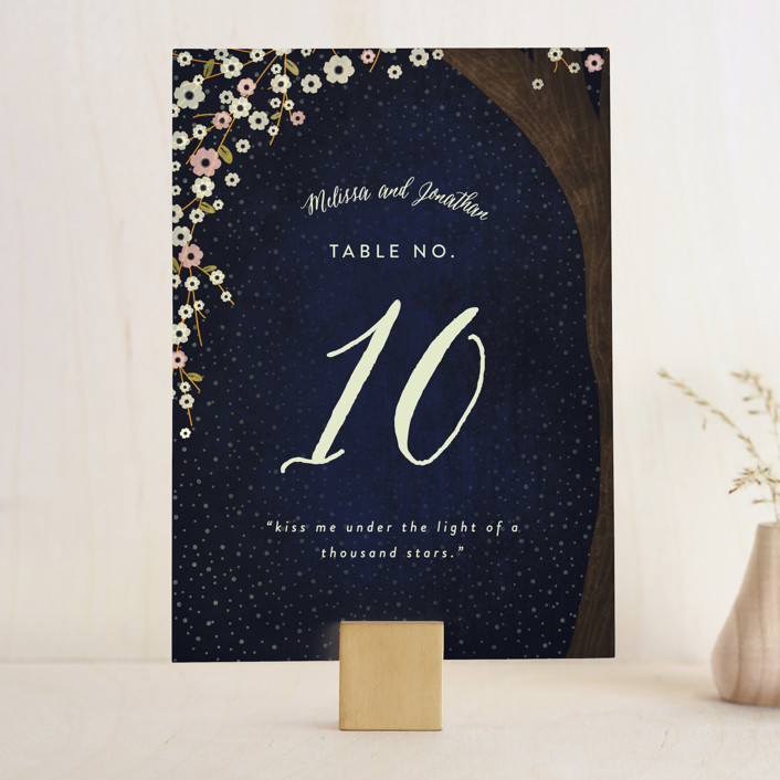 """""""Outside"""" - Rustic Wedding Table Numbers in Navy by Rebecca Bowen."""