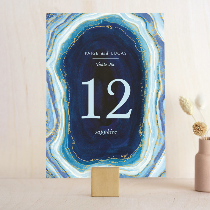 """Gilt Agate"" - Abstract Wedding Table Numbers in Navy by Kaydi Bishop."