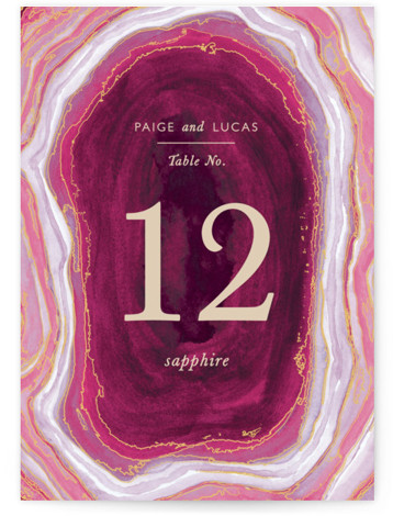 This is a portrait abstract, modern, whimsical, purple, pink Table Numbers by Kaydi Bishop called Gilt Agate with Standard printing on Luxe Museum Board in Classic Flat Card format. Table numbers come in a flat or folded format. Select from ...