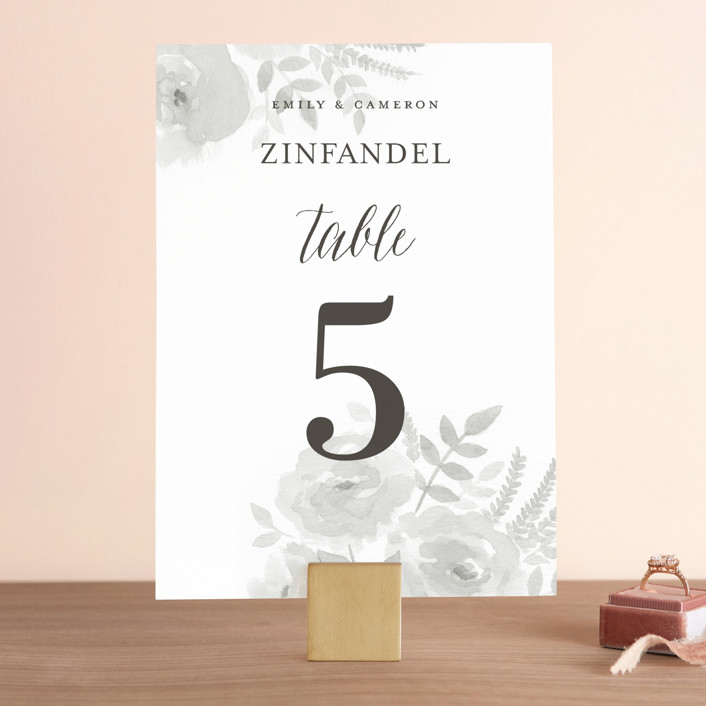 """Watercolor Floral"" - Floral & Botanical Wedding Table Numbers in Fog by Jill Means."