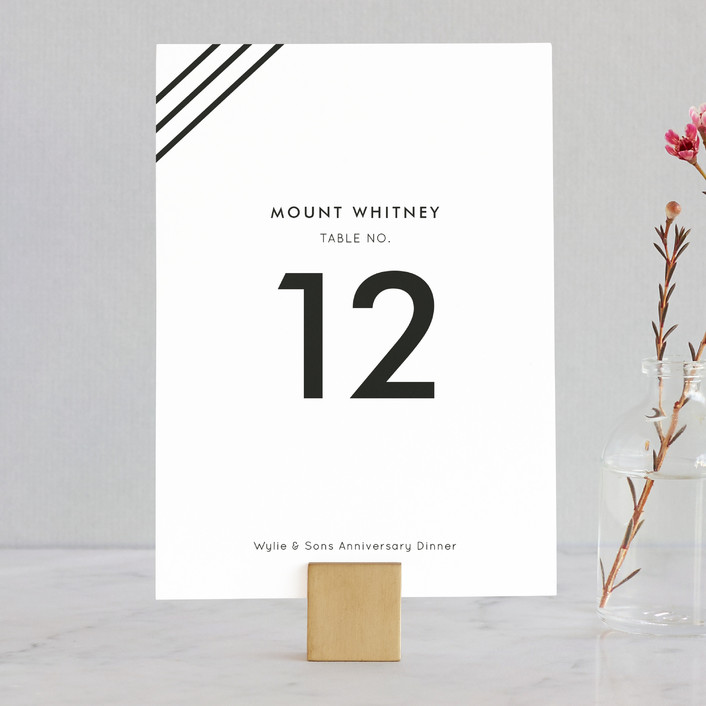 """""""Diagonal Stripes"""" - Simple Wedding Table Numbers in Tuxedo by Dozi."""