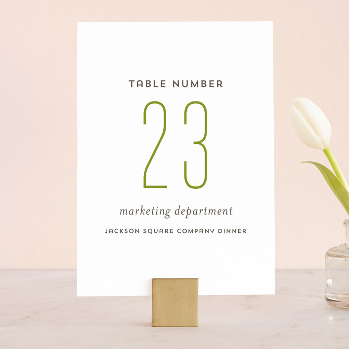 """Modern Harvest"" - Wedding Table Numbers in Olive by Cheer Up Press."