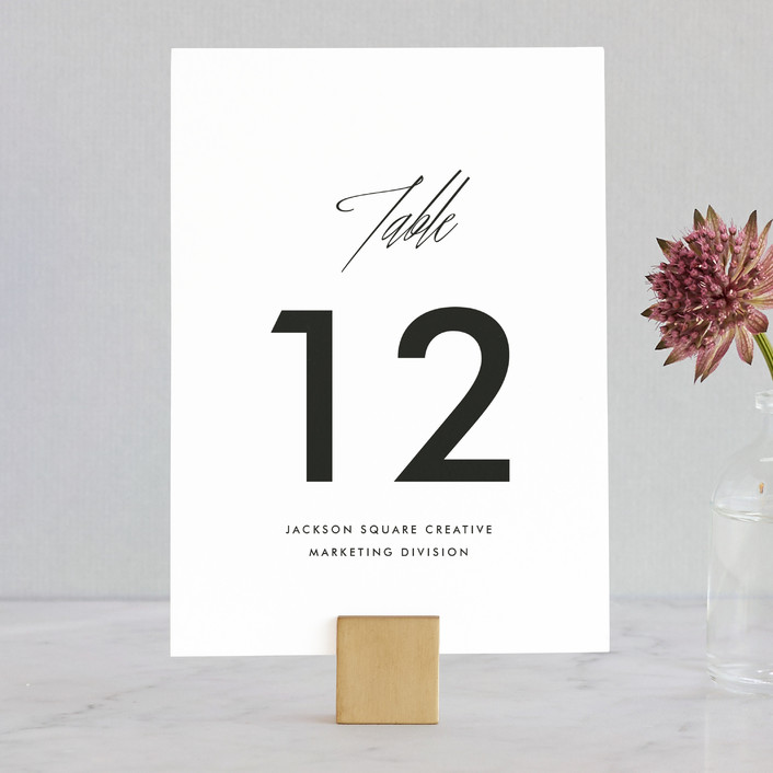 """""""On An Angel"""" - Simple, Classical Wedding Table Numbers in Obsidian by Bourne Paper Co.."""