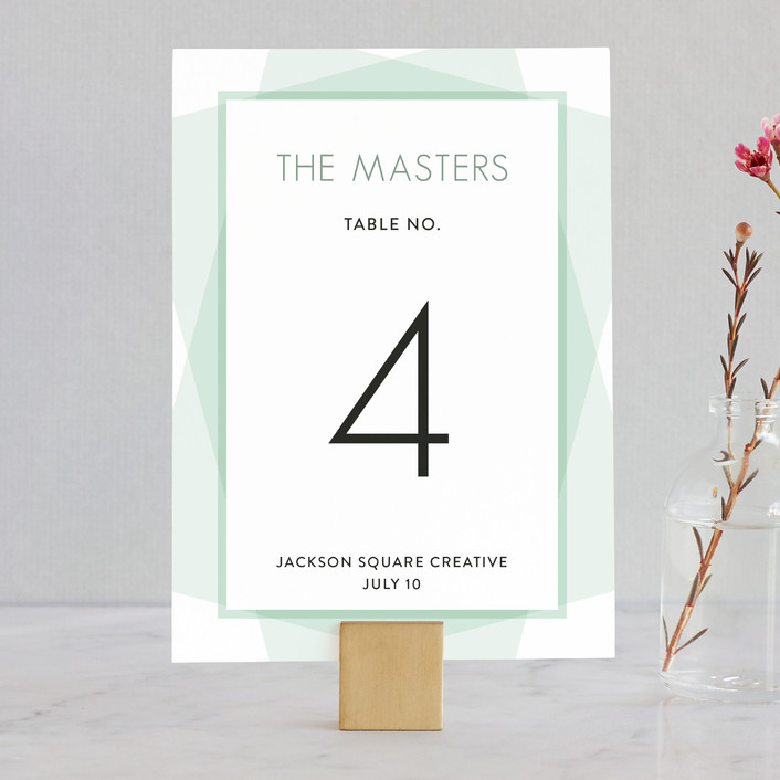 """Prism"" - Simple Wedding Table Numbers in Soft Mint by Coco and Ellie Design."