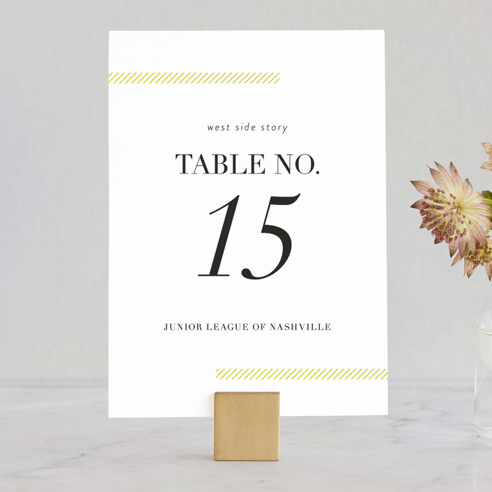 """""""Sidewalk"""" - Modern, Bold typographic Wedding Table Numbers in Mustard by Jessica Williams."""