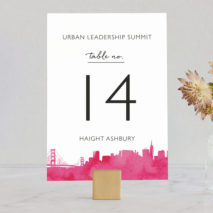 """Skyline-San Francisco"" - Hand Drawn Wedding Table Numbers in Fuchsia by Laura Condouris."