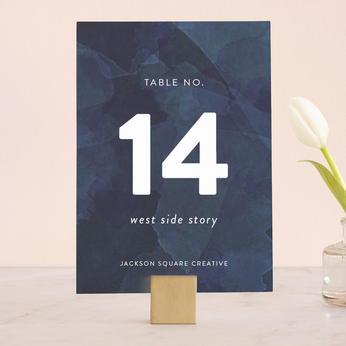 """Watercolor Wash"" - Modern Wedding Table Numbers in Navy by Sarah Brown."