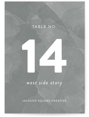 This is a portrait modern, gray Table Numbers by Sarah Brown called Watercolor Wash with Standard printing on Luxe Museum Board in Classic Flat Card format. Table numbers come in a flat or folded format. Select from our Signature, Premium ...
