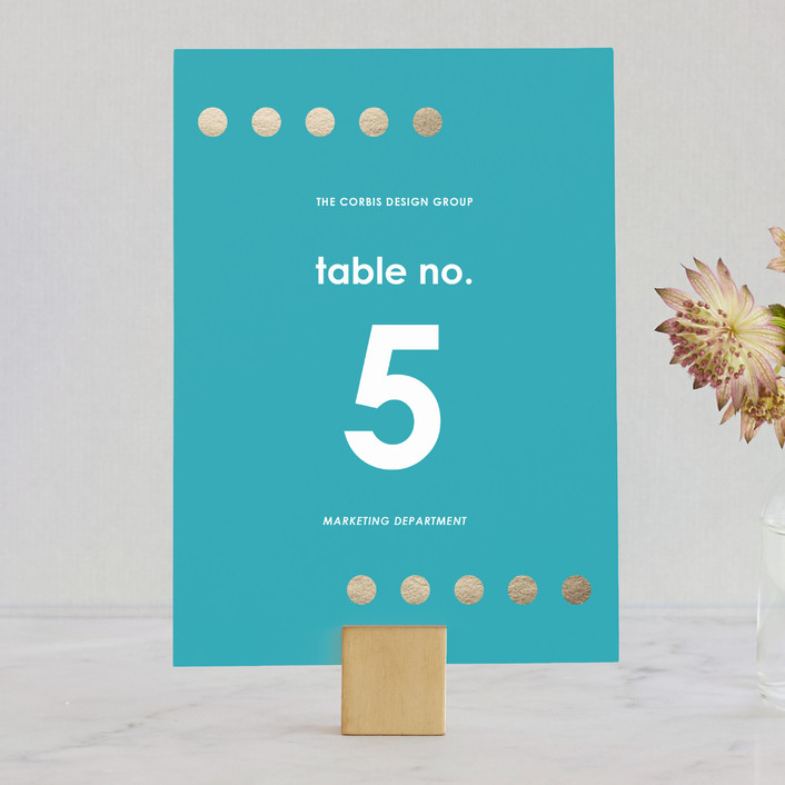 """Yum"" - Wedding Table Numbers in Aqua by design market."
