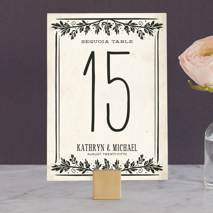 """""""Inked"""" - Hand Drawn, Bold typographic Wedding Table Numbers in Parchment by GeekInk Design."""