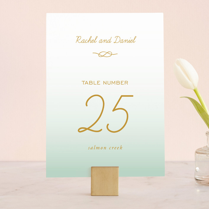 """""""Simple Knot"""" - Simple, Beach Wedding Table Numbers in Mint by SimpleTe Design."""