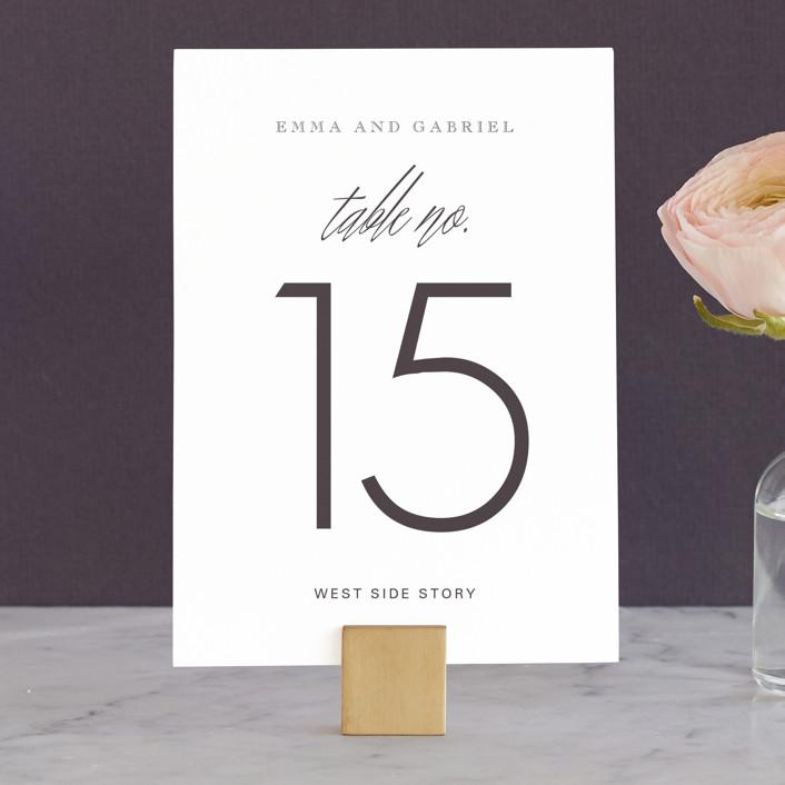 """Opulence"" - Formal, Elegant Wedding Table Numbers in Snow Caps by Design Lotus."