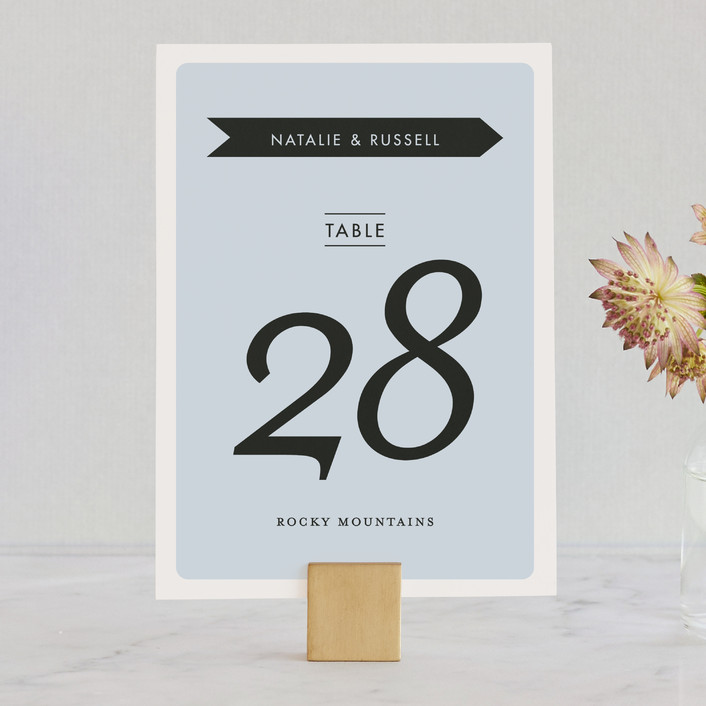 """""""Holiday Mountain"""" - Wedding Table Numbers in Winter by Kampai Designs."""