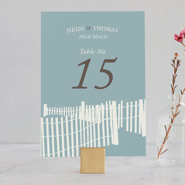 """""""Beachside"""" - Beach, Destination Wedding Table Numbers in Navy by 24th and Dune."""