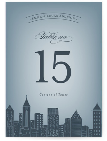 This is a portrait destination, hand drawn, modern, whimsical, blue Table Numbers by Hooray Creative called Big City Atlanta with Standard printing on Luxe Museum Board in Classic Flat Card format. Table numbers come in a flat or folded format. ...
