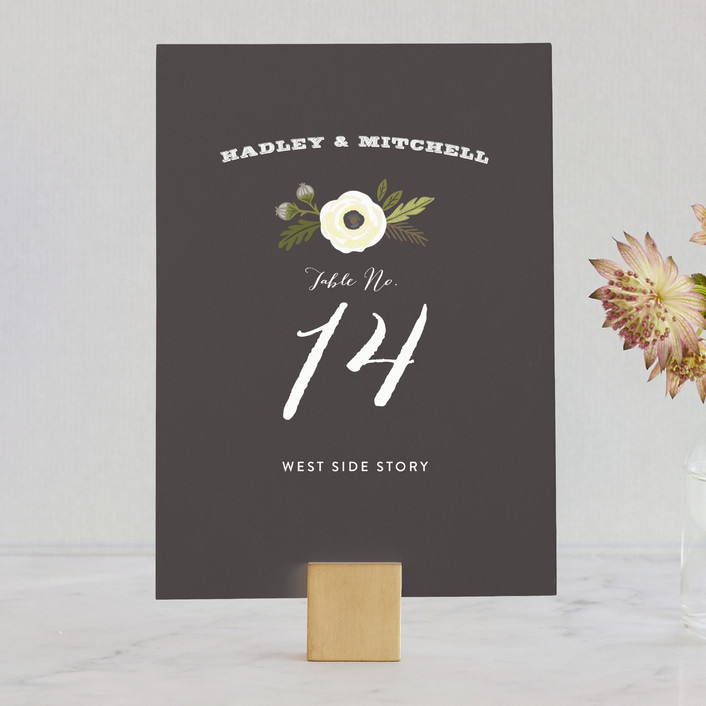 """""""Boheme"""" - Rustic, Floral & Botanical Wedding Table Numbers in Marigold by Griffinbell Paper Co.."""