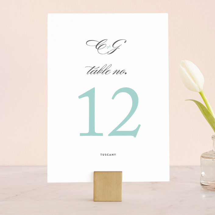 """Cordial Flourish"" - Bold typographic Wedding Table Numbers in Arctic by Olivia Raufman."