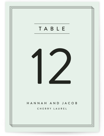 This is a portrait modern, simple, green Table Numbers by Stacey Meacham called Elegantly Framed with Standard printing on Signature in Classic fold over (blank inside) format. Table numbers come in a flat or folded format. Select from our Signature, ...