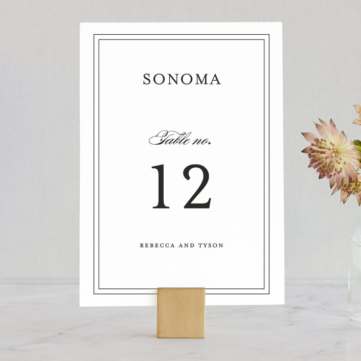 """Eloquence"" - Traditional, Classical Wedding Table Numbers in Vanilla by Kimberly FitzSimons."