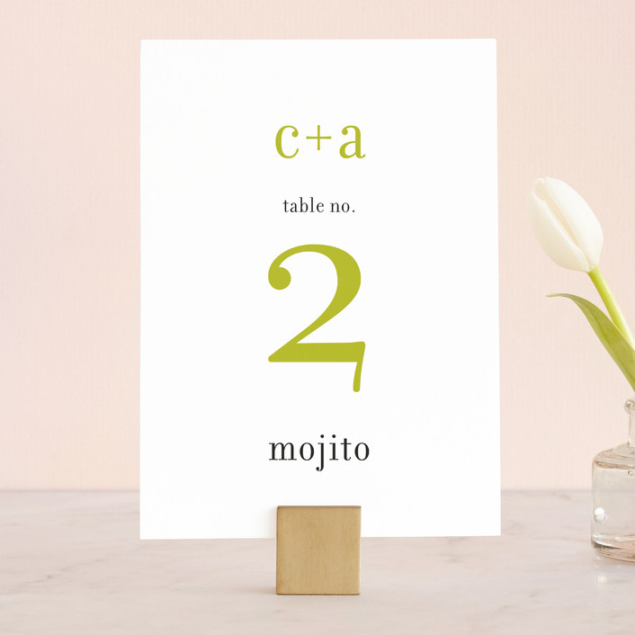 """float + celebrate"" - Simple Wedding Table Numbers in Celery by Float Paperie."