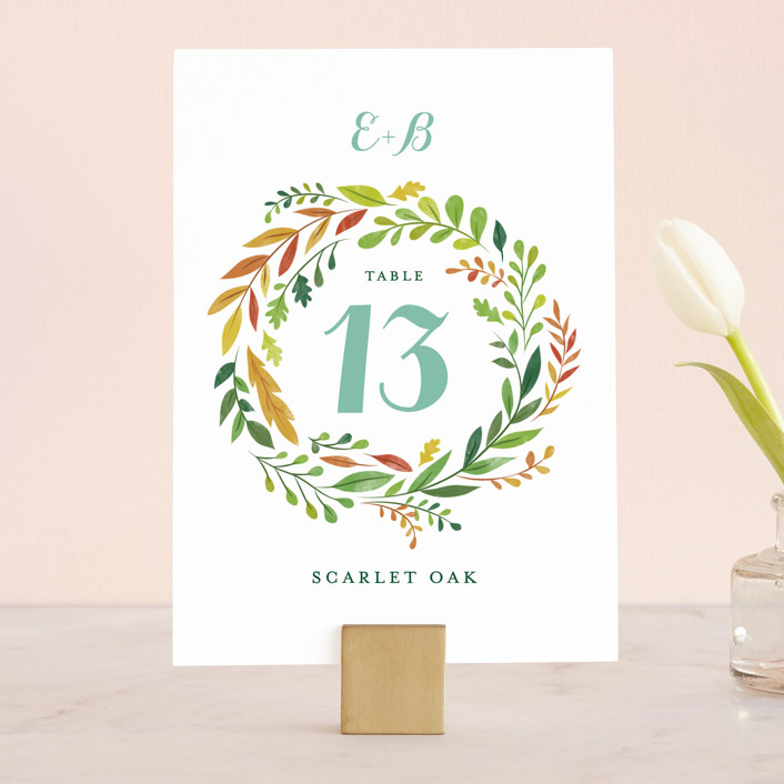 """Forest Wreath"" - Floral & Botanical Wedding Table Numbers in Forest Leaves by Ariel Rutland."