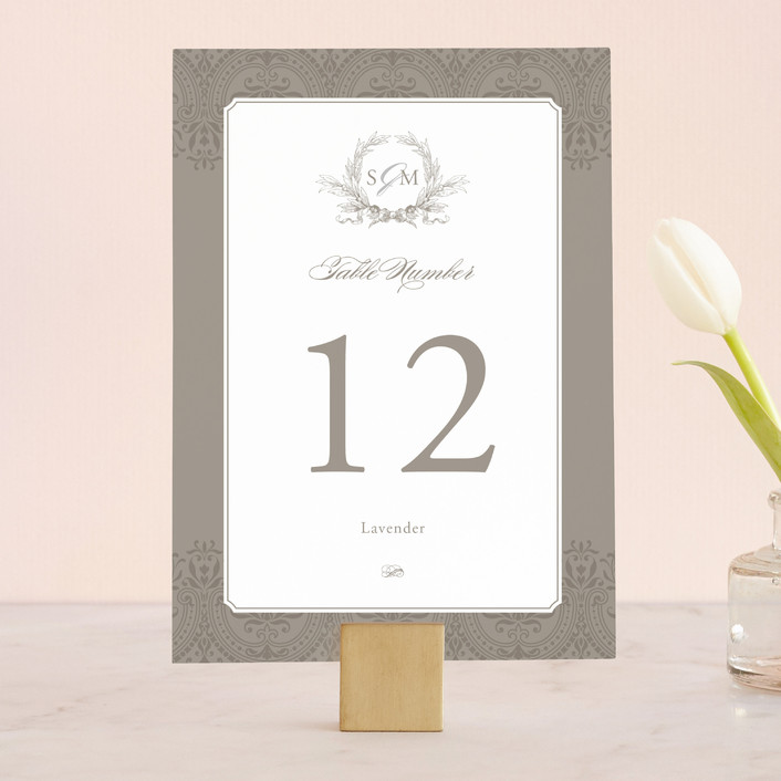 """Formalities"" - Classical Wedding Table Numbers in Warm Grey by Milkmaid Press."