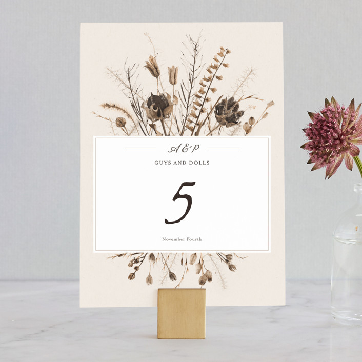 """""""Gone To Seed"""" - Bohemian Wedding Table Numbers in Taupe by Honeybunch Studio."""