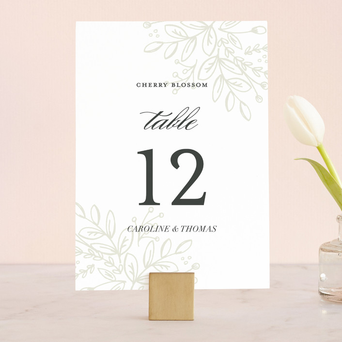 """""""Graceful"""" - Floral & Botanical, Elegant Wedding Table Numbers in Taupe by Jessica Williams."""