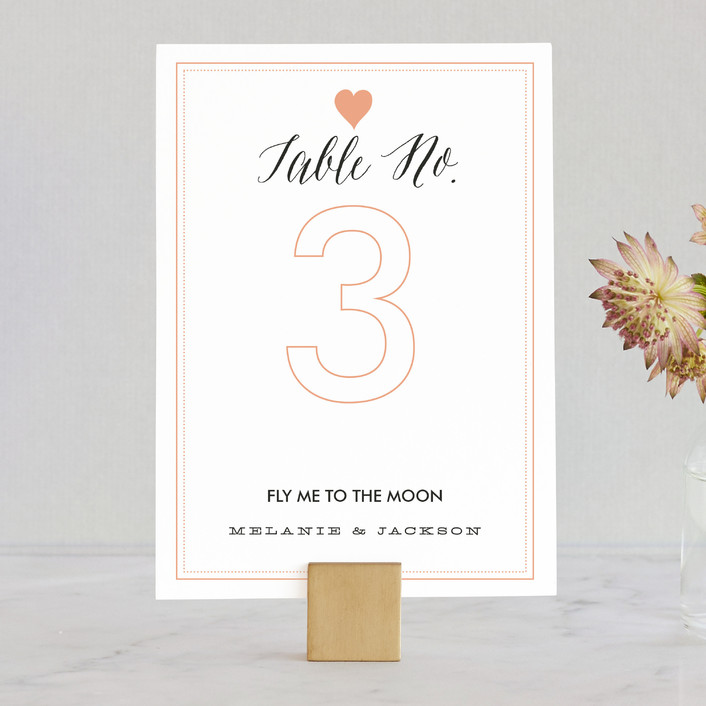 """Heartbeat"" - Modern Wedding Table Numbers in Petal by Sarah Curry."